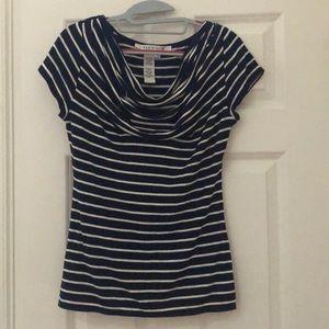 Navy/ white striped ruffled blouse
